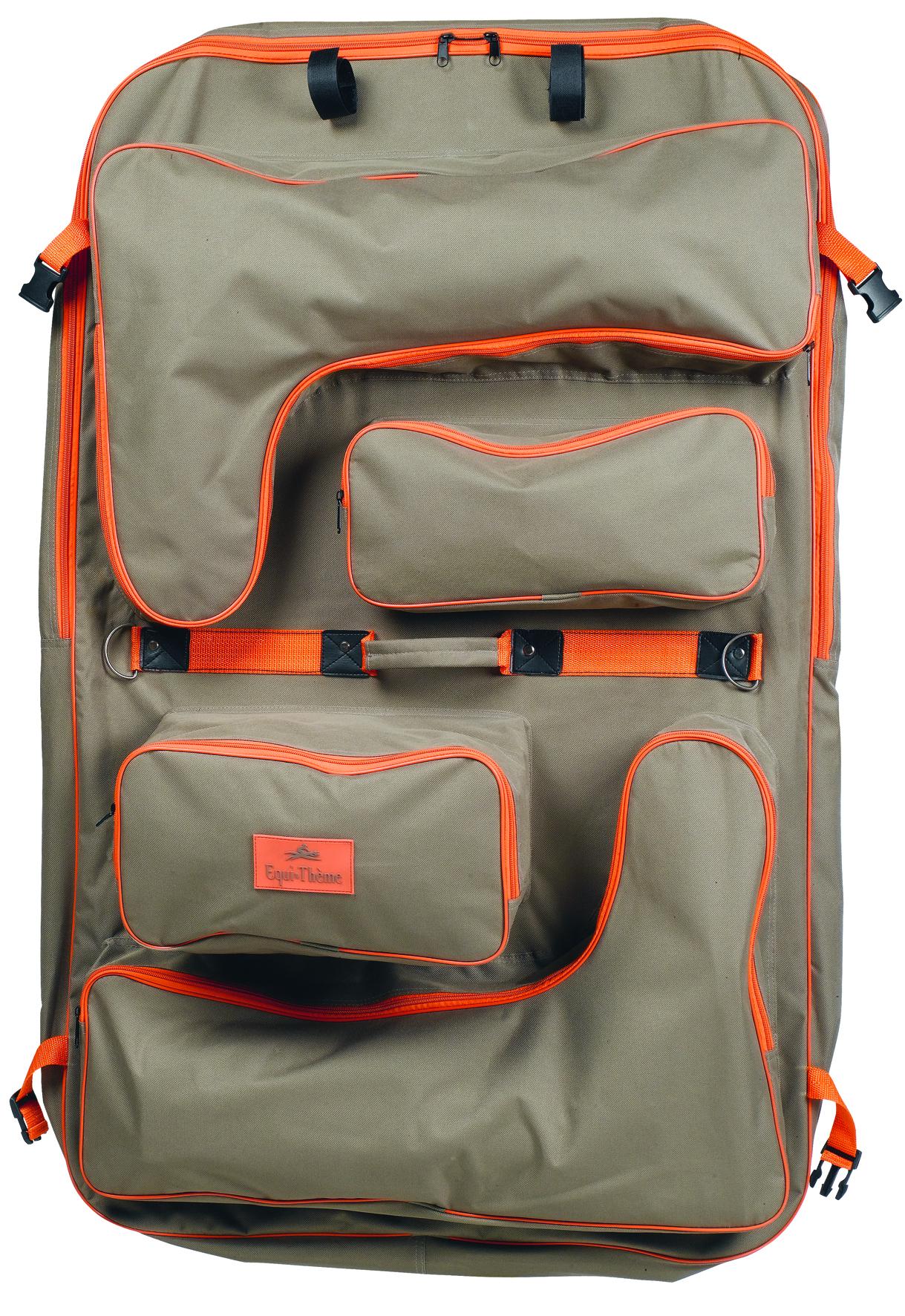 taška EQUI-THEME na jezdecké oblečení - šedohnědá, paspulka oranžová